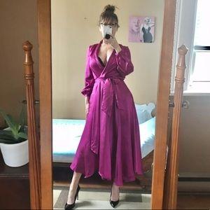NWT NASTY GAL SATINY WRAP DRESS FUCHSIA MAGENTA